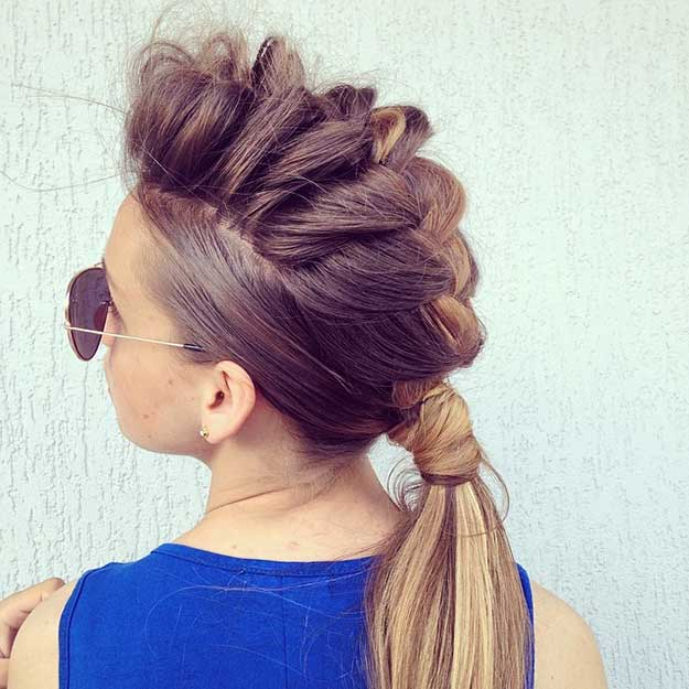 Swell Inside Out French Braid Mohawk Braids Hairstyle Inspiration Daily Dogsangcom