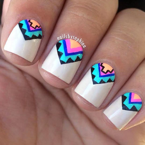 80 nail designs for short nails stayglam colorful aztec nail design for short nails prinsesfo Images