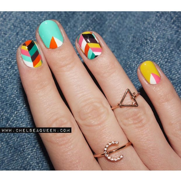 colorful nail design for short nails - Nail Design Ideas