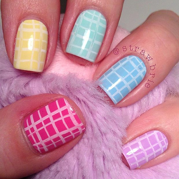 Colorful Pastel Nail Design for Short Nails