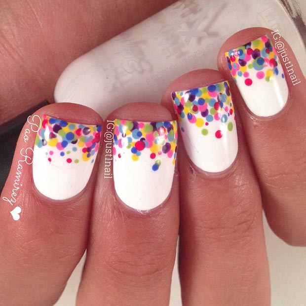 Colorful Polka Dot Tips Nail Design - 80 Nail Designs For Short Nails StayGlam