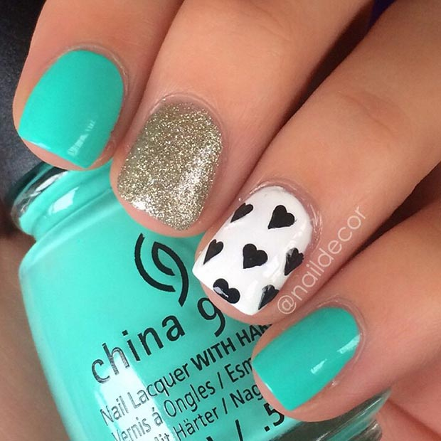 cute and girly turquoise nail design