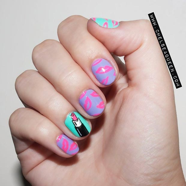 Cute Lips Nail Design for Short Nails