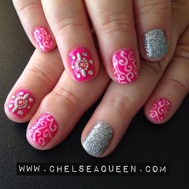 Cute Pink and Silver Nail Design