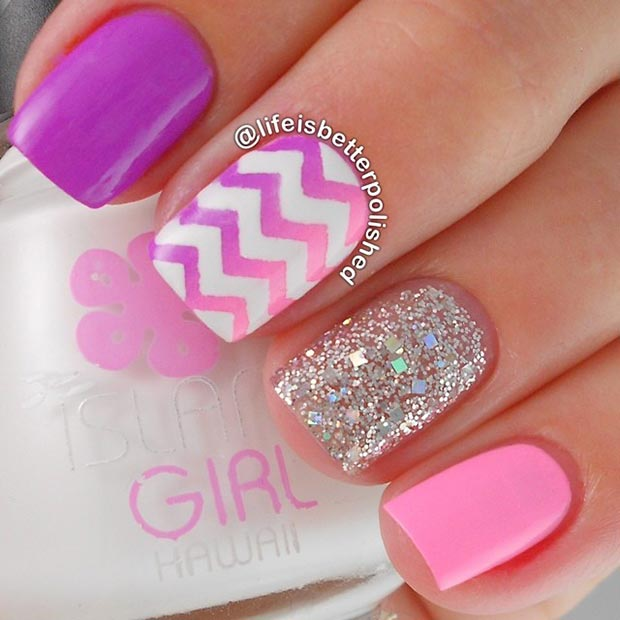 Cute Pink and White Nail Design - 80 Nail Designs For Short Nails StayGlam