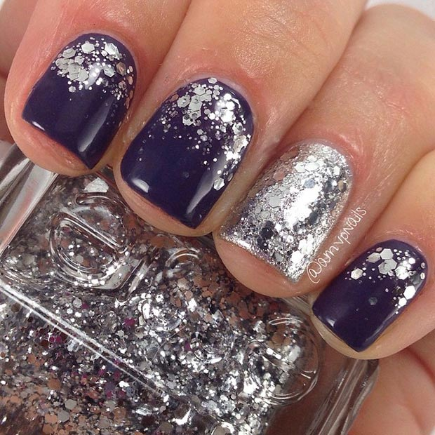 Dark Nail Design with Silver Glitter - 80 Nail Designs For Short Nails StayGlam