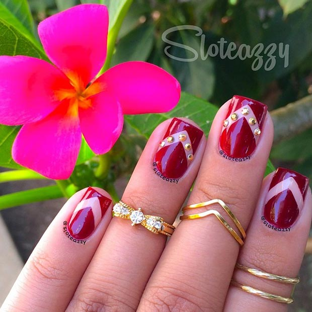 Dark Red & Gold Details Nail Design - 80 Nail Designs For Short Nails StayGlam