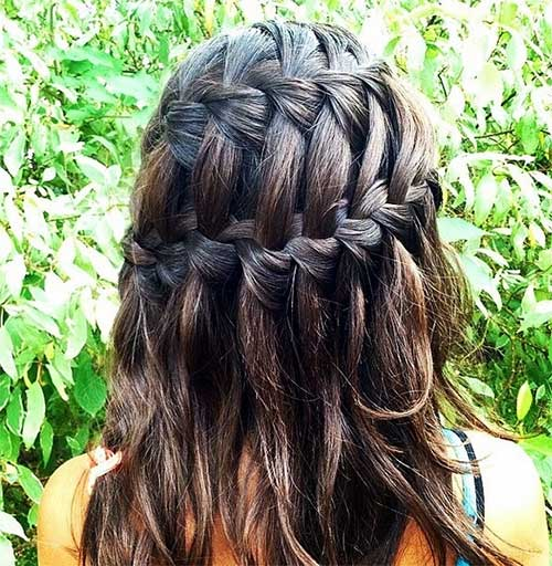 Double French Waterfall Braid Half Updo