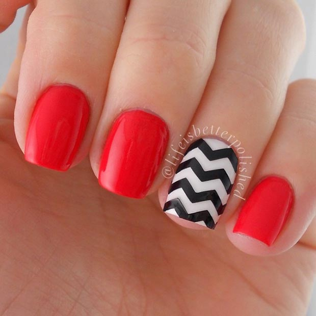 Easy Black and Red Nail Design for Short Nails