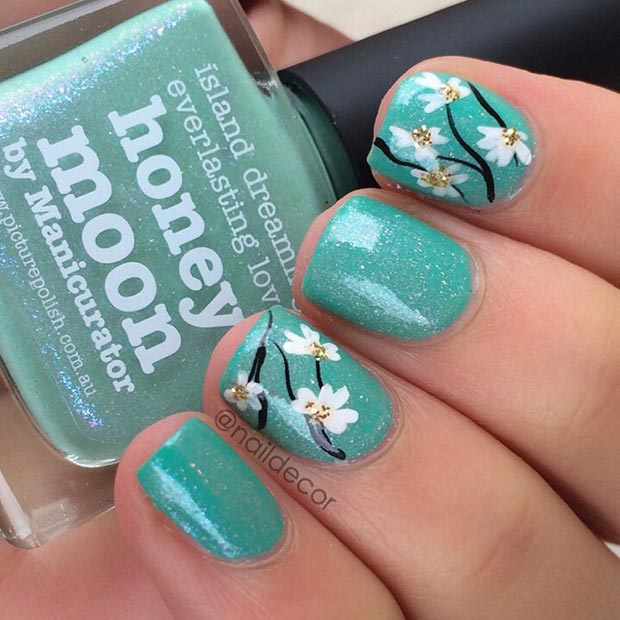 Flower Turquoise Nail Design - 80 Nail Designs For Short Nails StayGlam