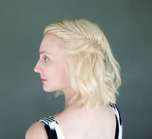 French Fishtail Half Updo for Short Hair