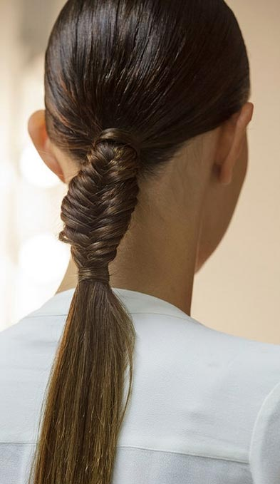 French Fishtail Low Ponytail