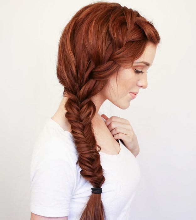 French & Fishtail Side Braid