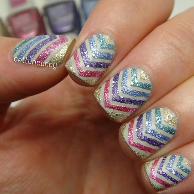 Glitter Nail Design for Short Nails - 80 Nail Designs For Short Nails StayGlam
