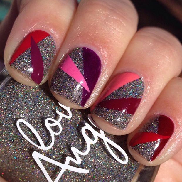 Glitter and Spikes Nail Design