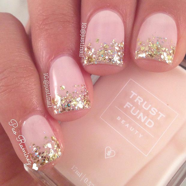 Gold Glitter Tips Nail Design