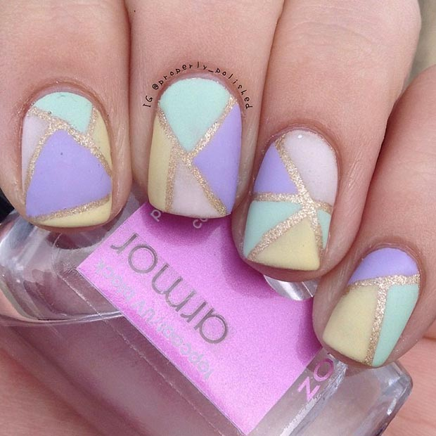 Gold and Pastel Nail Design - 80 Nail Designs For Short Nails StayGlam