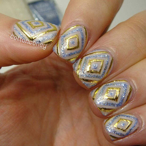 80 nail designs for short nails stayglam gold and silver glitter nail design prinsesfo Images