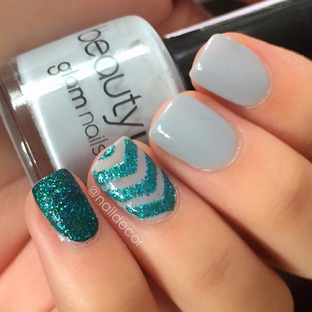 80 nail designs for short nails stayglam gray and green nail design for short nails prinsesfo Images