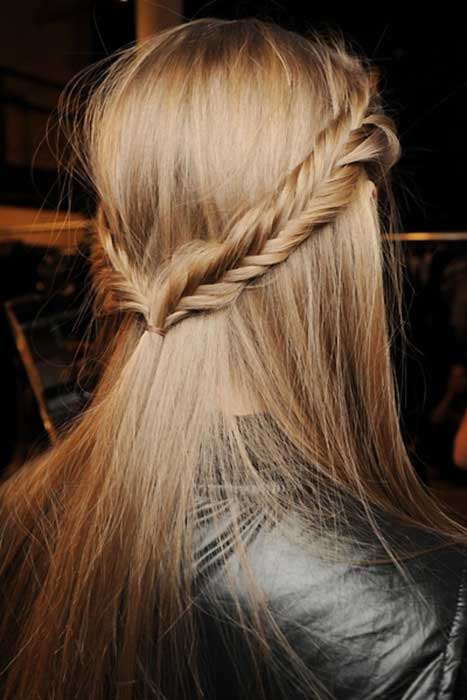 Half Up French Fishtail Braids Hairstyle