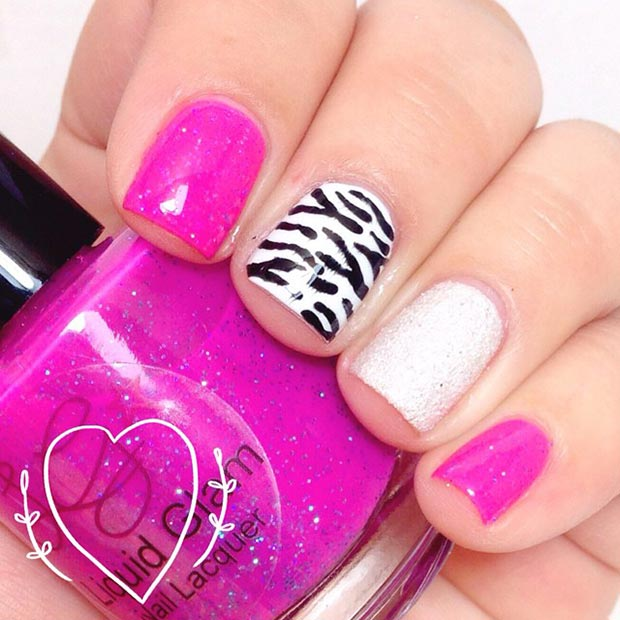 Hot Pink and Zebra Nail Design