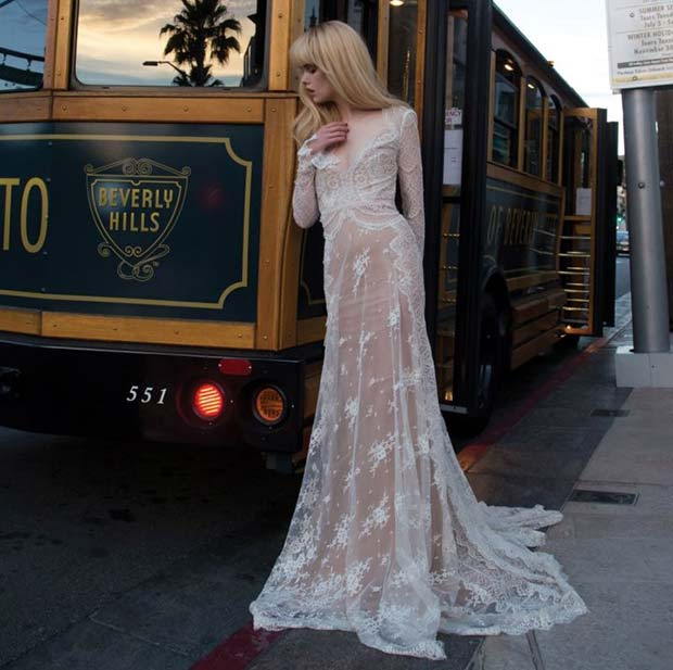 Lace Long Sleeve Plunging Wedding Dress