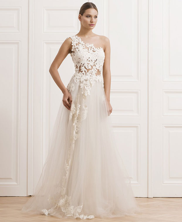 Lace One Shouldered Wedding Dress