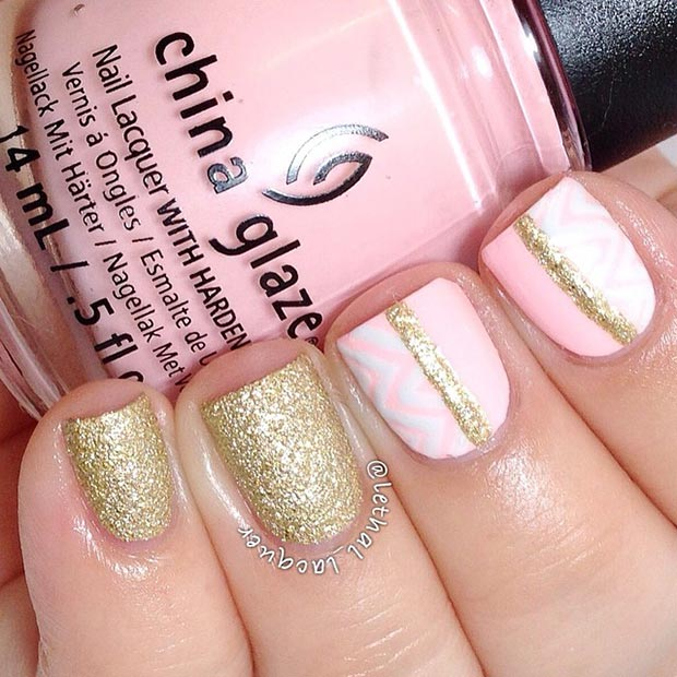 80 nail designs for short nails stayglam light pink and gold nail design prinsesfo Images