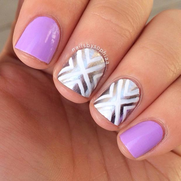 80 nail designs for short nails stayglam light purple and silver nail design prinsesfo Gallery