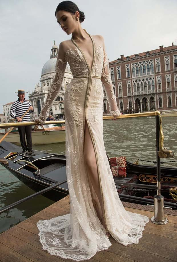 Long Sleeve Plunging Slit Wedding Dress