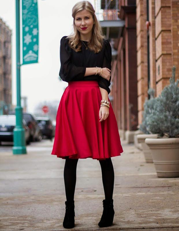 Red Midi Skirt Outfit