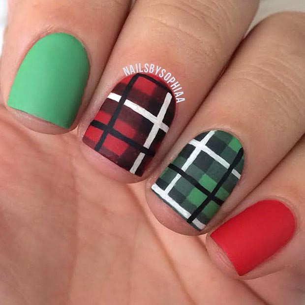 Matte Plaid Nail Design for Short Nails