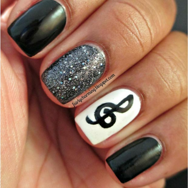 80 nail designs for short nails stayglam music nail design for short nails prinsesfo Images