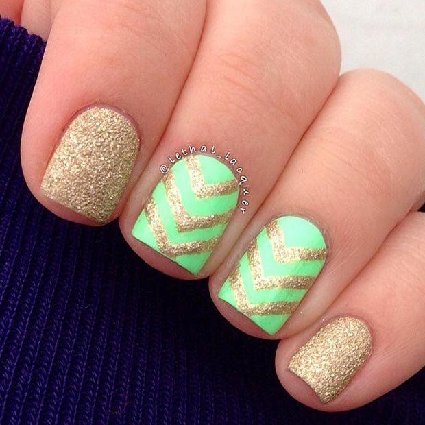 Neon Green And Gold Nail Design