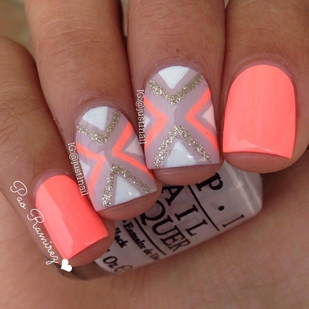 neon orange nail design for short nails