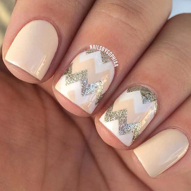 80 nail designs for short nails stayglam nude and gold nail design prinsesfo Images