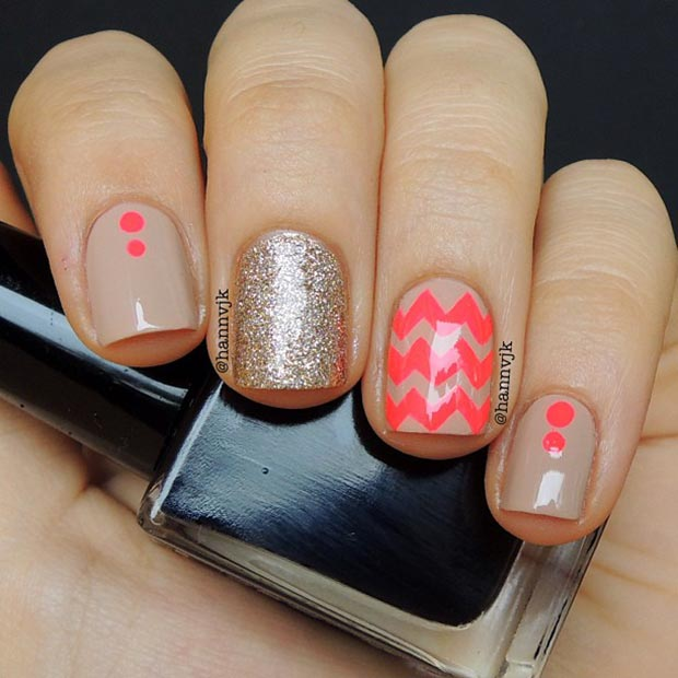 80 nail designs for short nails stayglam nude and neon nail design for short nails prinsesfo Images