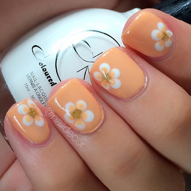 Orange Flower Nail Design for Short Nails