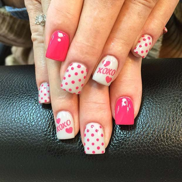 Pink Polka Dot Valentines Day Nails