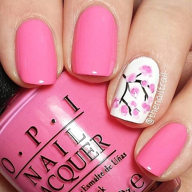pink spring nail design with cherry blossom - Fingernails Designs Idea