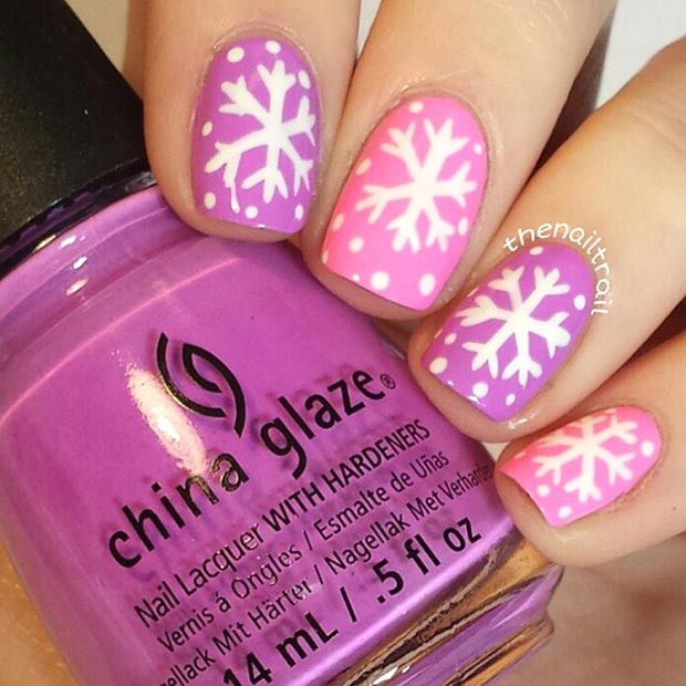 Pink Winter Snowflake Nail Design for Short Nails