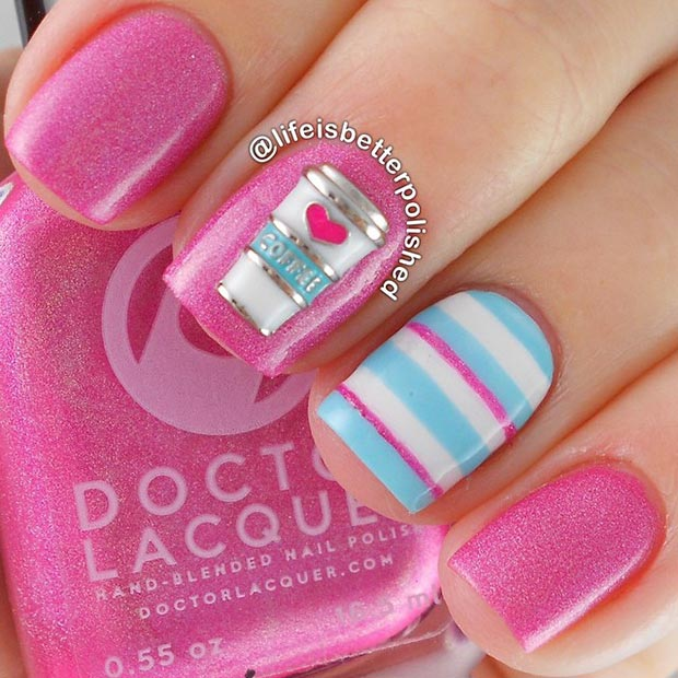 Pink and Light Blue Nail Design