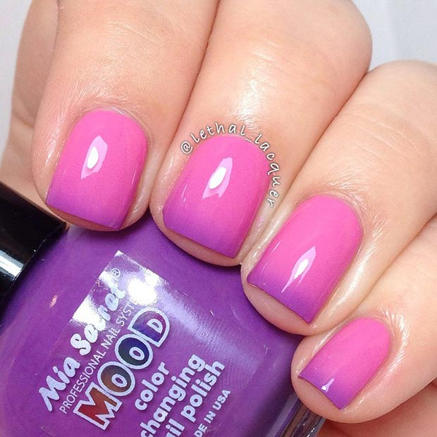Pink and Purple Nail Design - 80 Nail Designs For Short Nails StayGlam