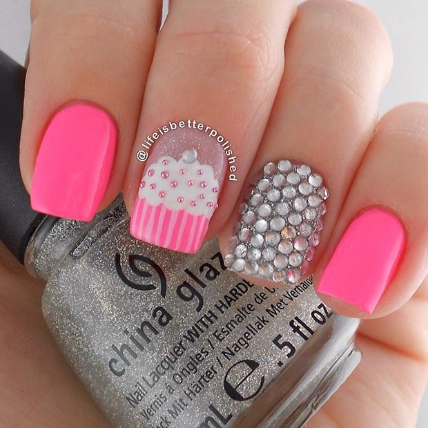 80 nail designs for short nails stayglam pink and silver cupcake nail design prinsesfo Choice Image