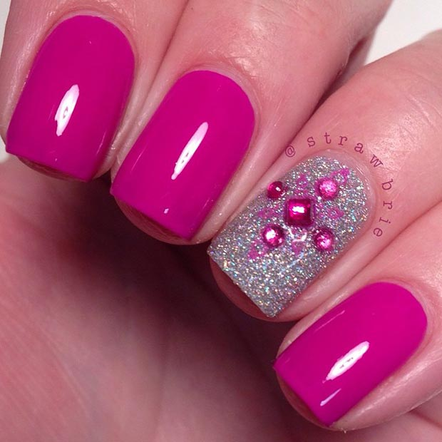 80 nail designs for short nails stayglam pink and silver nail design prinsesfo Choice Image