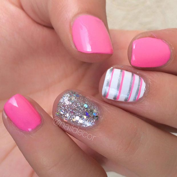 Pink and Sparkly Silver Nail Design - 80 Nail Designs For Short Nails StayGlam