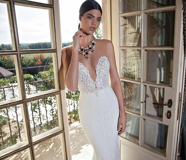 Plunging Strapless Lace Wedding Dress