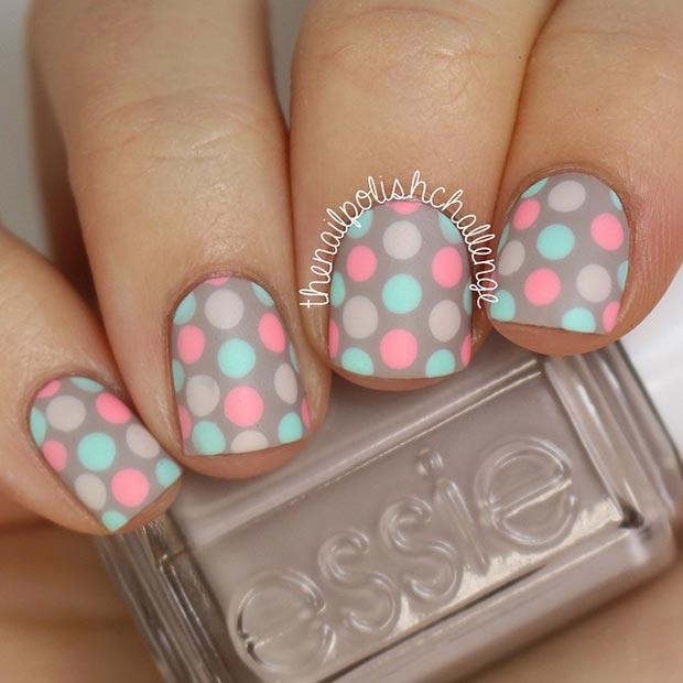 Polka Dot Pastel Nail Design