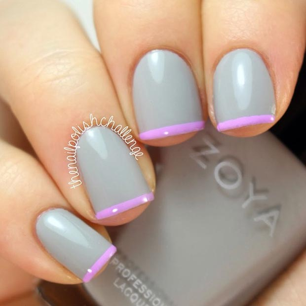 Purple Tips Nail Design