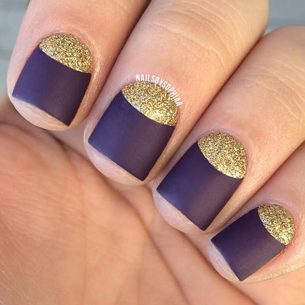 Purple and Gold Half Moon Nails
